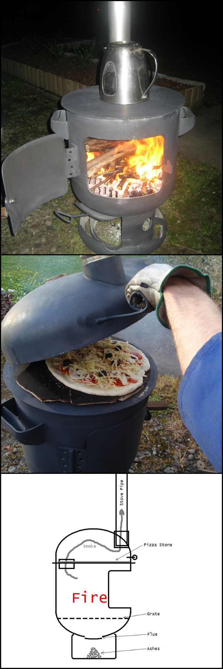 Pizza baked in wood fired ovens are the best and what's even better is you can make one at home!  Yes, there are a number of tutorials on stoves made from old propane bottles out there, but here's one that serves two purposes – it'a a pizza oven and a patio heater rolled into one!   http://diyprojects.ideas2live4.com/2016/04/07/pizza-oven-and-patio-heater-combo/  This tutorial provides clear, detailed steps on how you can turn a propane gas tank into a pizza oven/patio heater.
