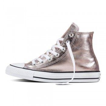 Converse Damen Chuck Taylor All Star High Sneaker Metallic Canvas Rose Quartz