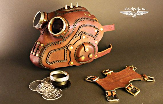 STEAMPUNK MASK leather Halloween apocalypse gear LARP cosplay cybergoth cyberpunk dieselpunk costume
