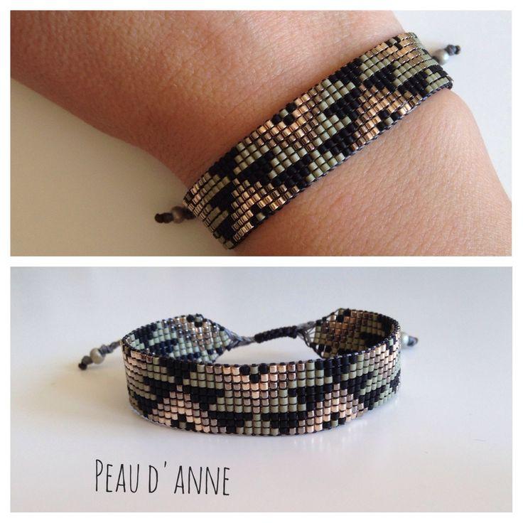 Manchette tissée de fines perles miyuki : Bracelet par peaud-anne