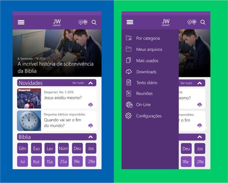 Conceito do aplicativo JW Library para Windows 10 Mobile, feito via CorelDraw x8.