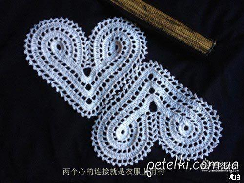 Malha crochet. Vestido vermelho do coração. Scheme, MK