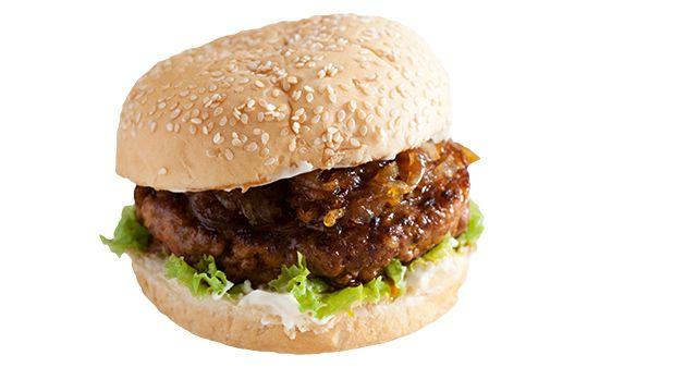 Chori Burger with Caramelized Onions Recipe