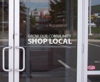 Grow Our Community Shop Local. Store Front Decal by JandiCoGraphix, $15.00 #shoplocal #sign