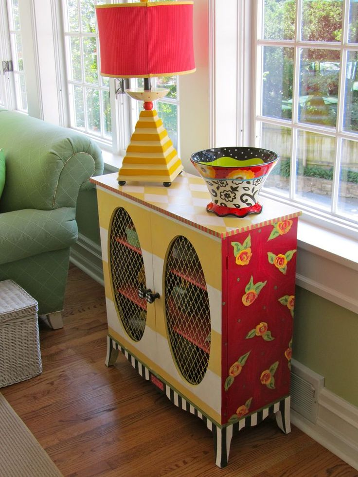 "adorable hand painted cabinet: by ""Be Colorful"""