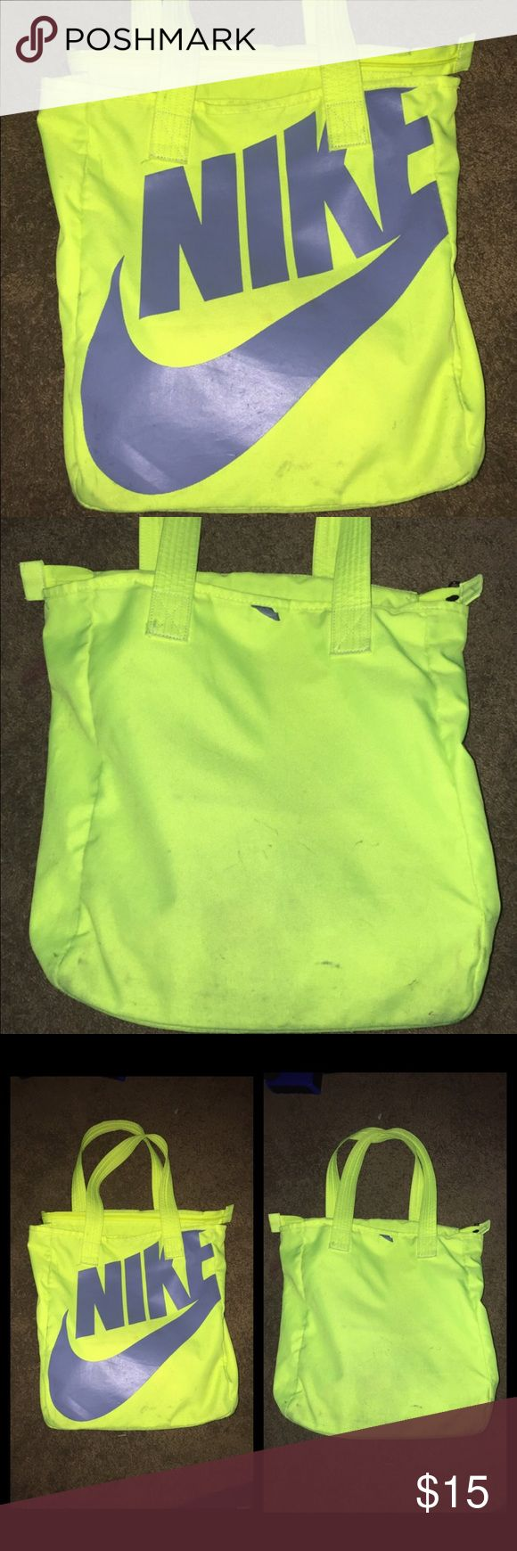 Nike tote bag Neon yellow Nike tote. In good condition, few stains but may come clean if washed! Nike Bags Totes