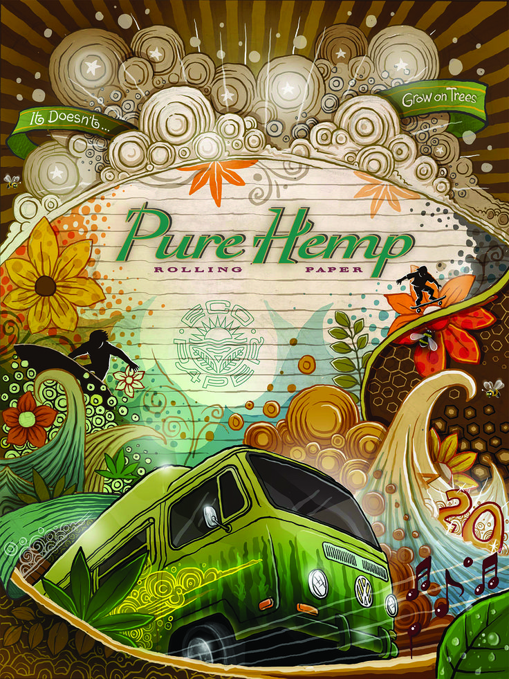 """PURE HEMP 20th Anniversary Poster """"IT DOESN'T GROW ON TREES"""" Art Poster 18 x 24 Inch Lithograph Poster on Matte Paper *poster comes folded in envelope"""