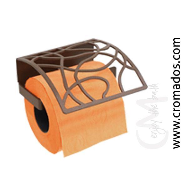 Portarrollos ARD01 de la serie Art Decó de CM Baños. Medidas: 125x140x70. Acabado en marrón forja con opción a blanco texturizado y negro forja. Estilo art decó rústico.