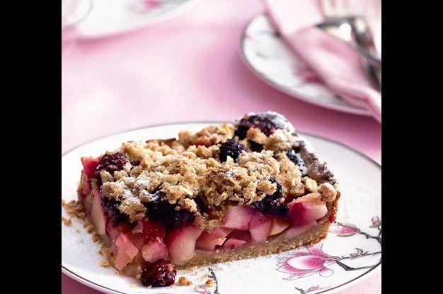 Celozrnný jablečný koláč s drobenkou