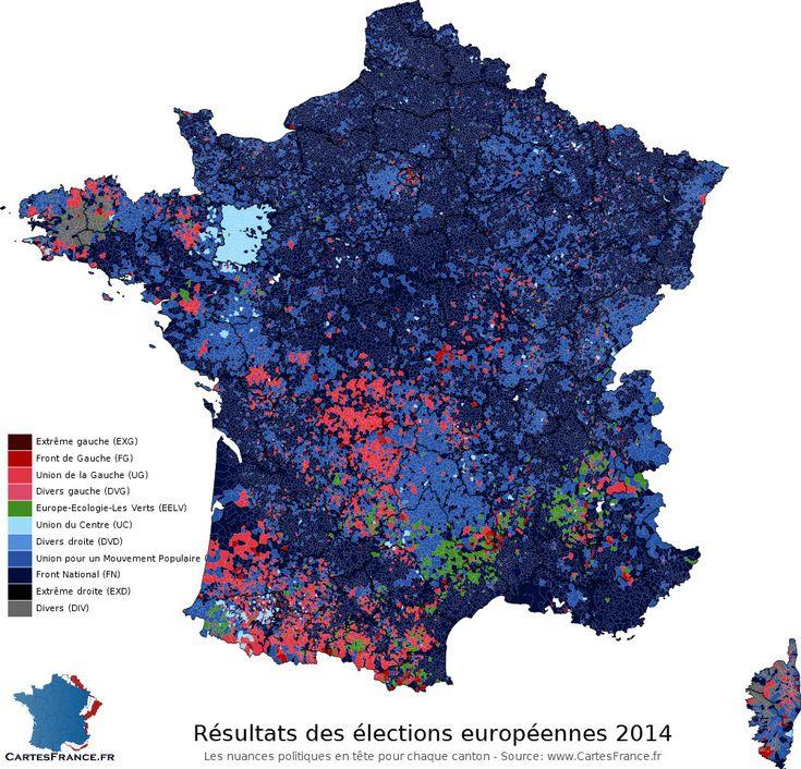 Carte des résultats des élections européennes 2014