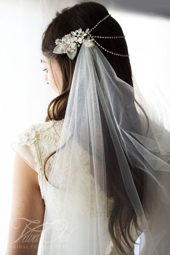 Bridal draped veil in Ivory extra fine tulle Jeweled by VelvetOwl