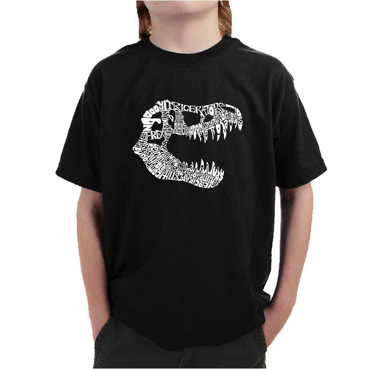 LOS ANGELES POP ART Los Angeles Pop Art Trex Skull Using Popular Dinosaur Names Graphic Boys T-Shirt
