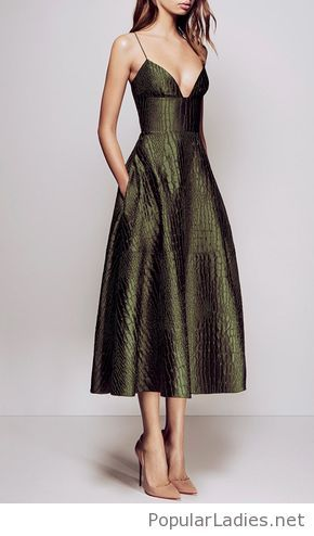 Nice olive dress with nude shoes