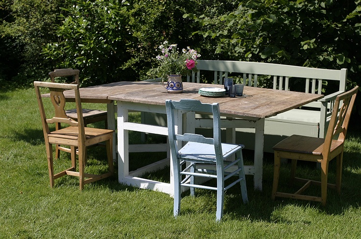 Antique Swedish table (slagbord) used in a nice outdoors setting.