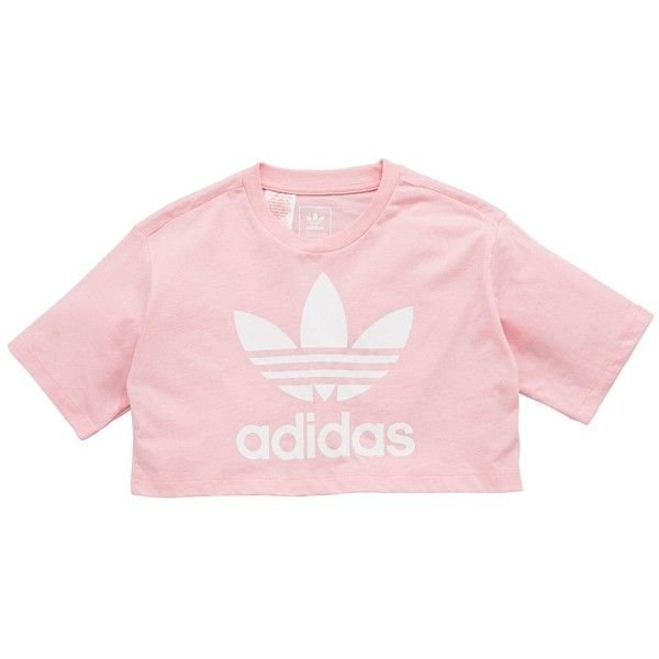 Adidas Originals Adidas Originals Older Girls Trefoil Crop Top (£20) ❤ liked on Polyvore featuring tops, pink tops, adidas originals, cropped tops, pink crop top and cut-out crop tops