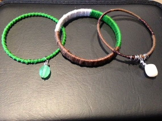 Handmade embroidery thread wrapped set of 3 by CroquchetCreations, $15.00