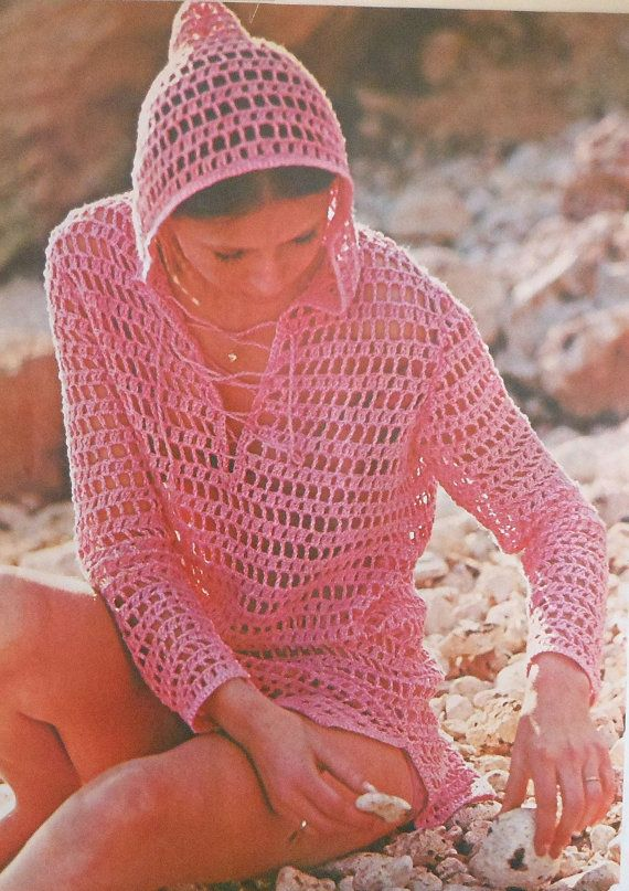 Free Pattern Crochet Cover Up : Hooded Beach Cover-up Crochet Pattern Sizes 12-20