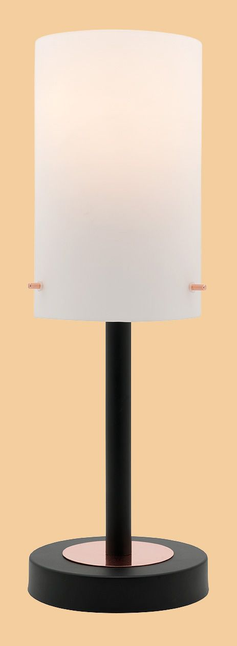 The Becky Touch Table Lamp By Mercator Features A Matt Black Base And Arm With Copper Or Brass Trimmings Frosted Glass Shade