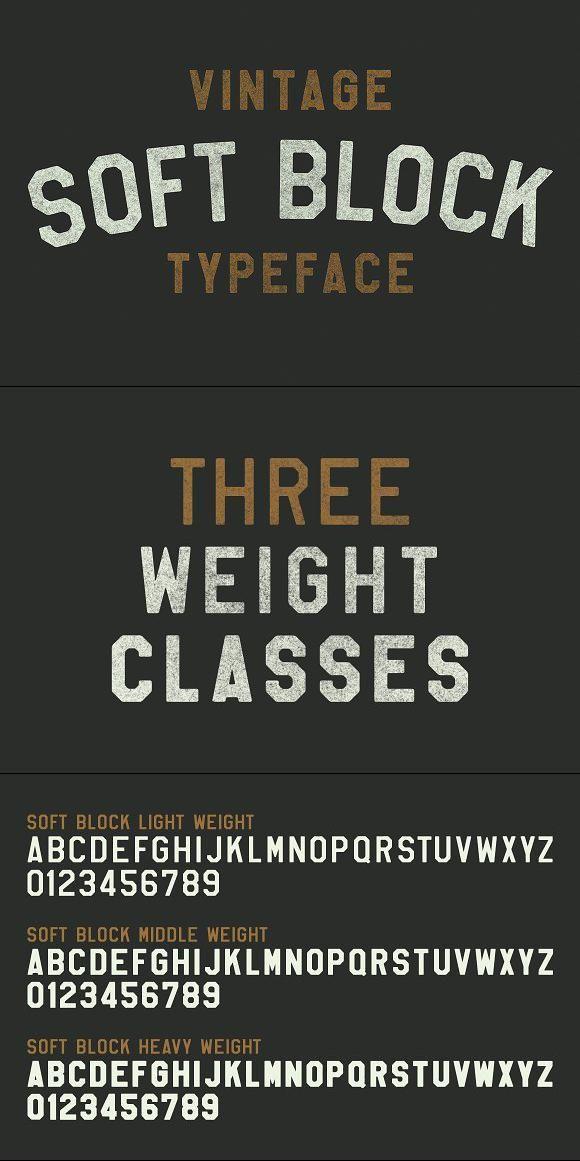 Soft Block Pro Vintage Fonts Soft Blocks Retro Typography