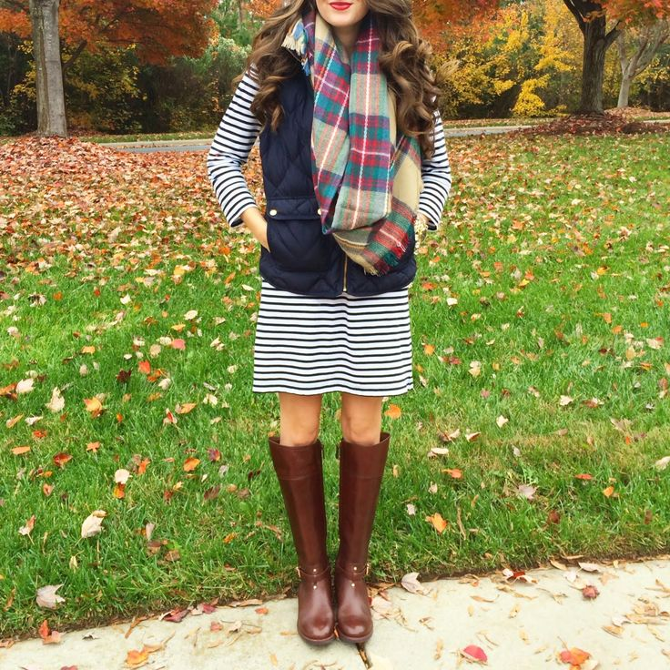 striped dress, plaid scarf, tall boots, vest