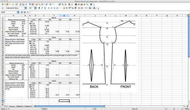 Calculateur de mesures pour dessiner les patrons (en anglais). Plusieurs versions de bustes