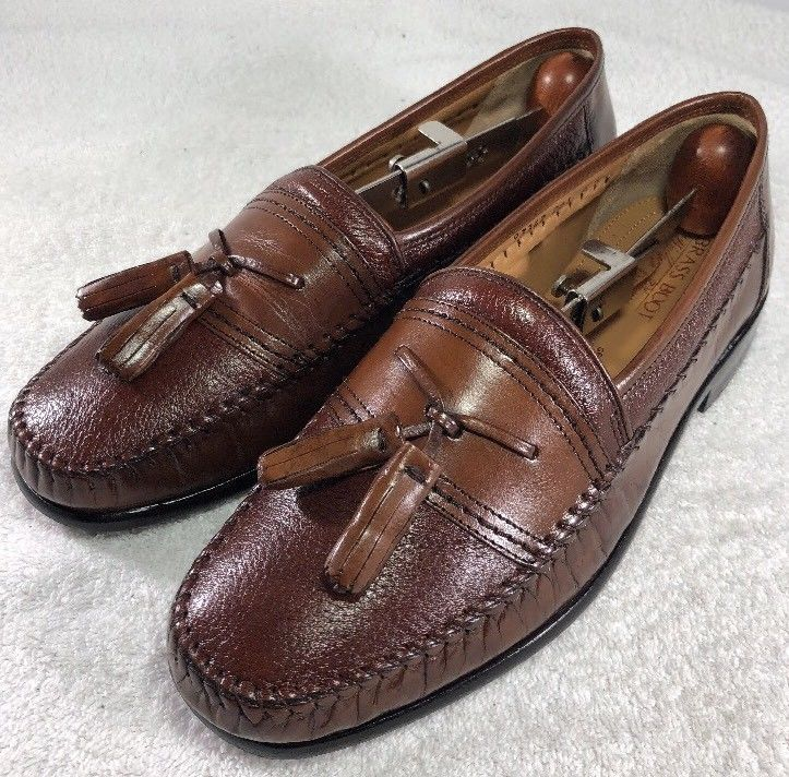 Brass Boot Mens Walking Gloves Brown Leather Tassel Loafers Dress Shoes Size 8W  | eBay