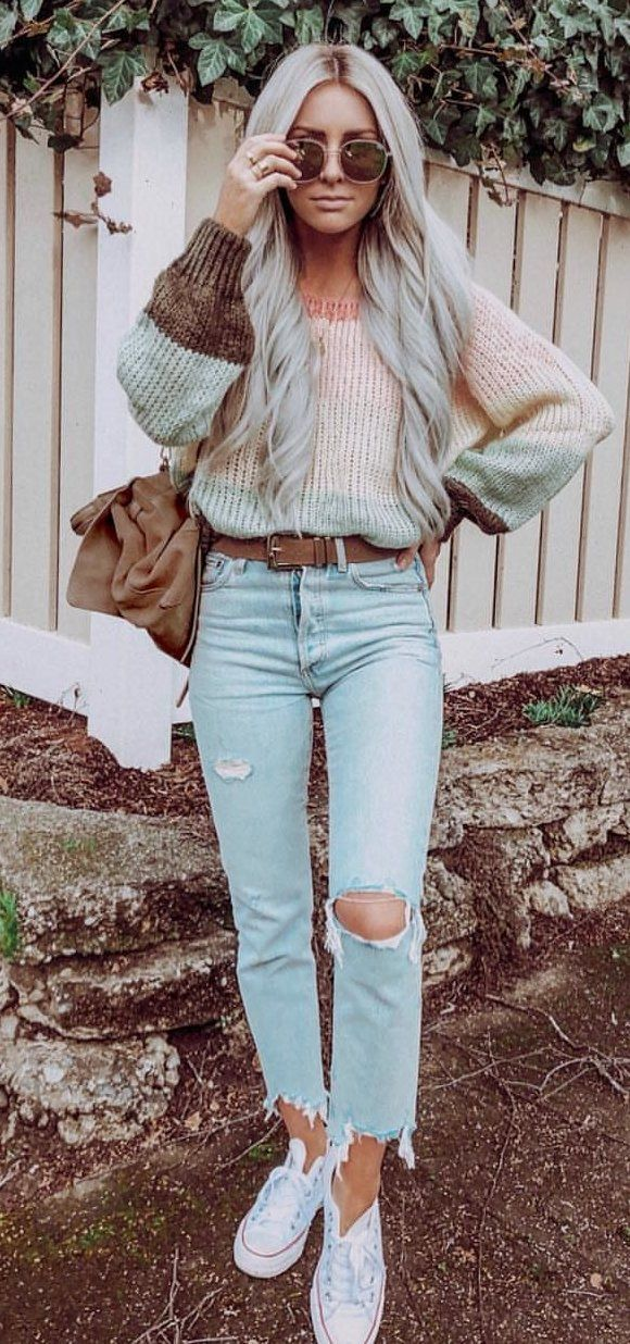gray and pink knit sweater and blue denim jeans #spring #outfits
