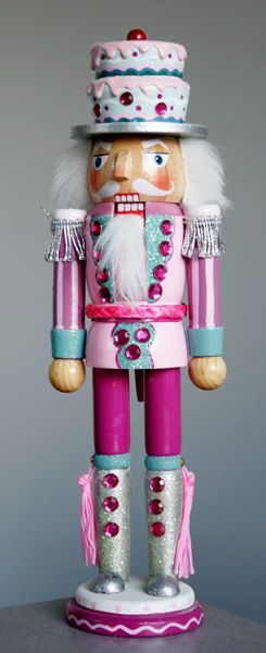 N1211-A: 12 inch Nutcracker in Pink and Teal with Cake Hat  - 12 pieces of 12 inch nutcrackers are included in this order.