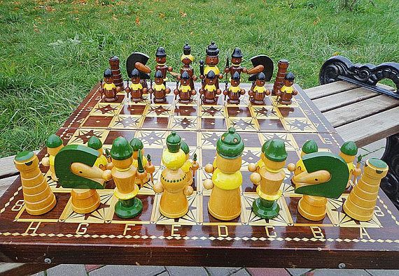 Art Made Personalized Chess Figures Wooden Kids Chess Set USSR. Vintage  Russian Childrens Chess Game
