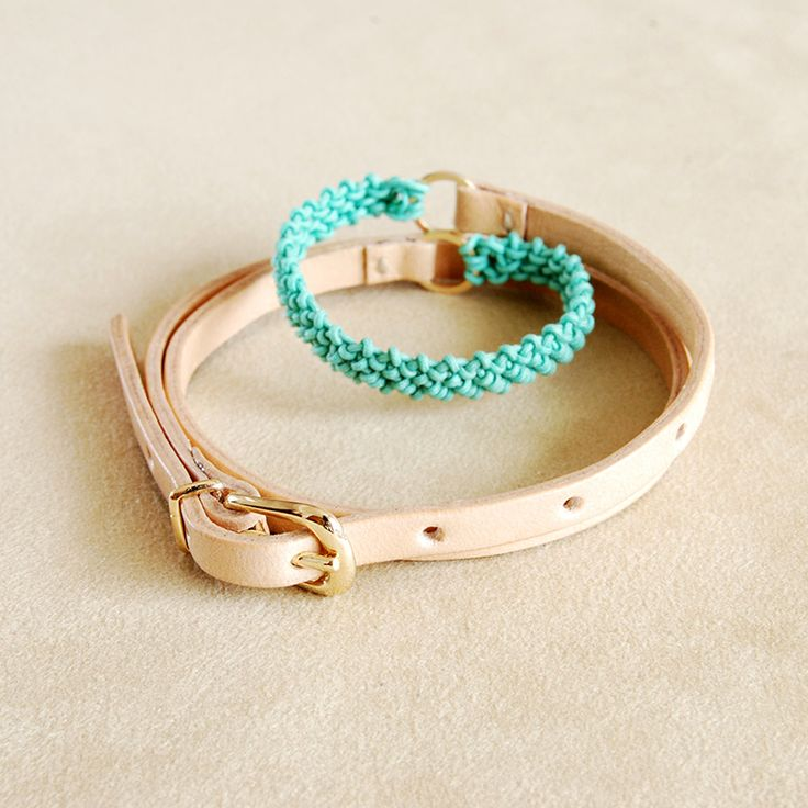 Helena Rohner SS14, leather wrist wrap with aqua string #helenarohner #bracelet