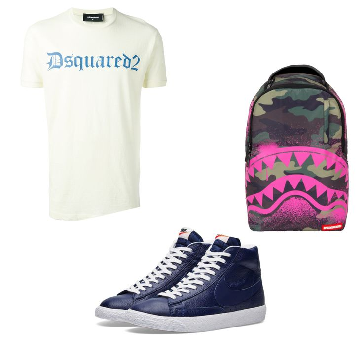 the fashion essential ! simple dsquared t-shirt, nike sneaker and sprayground back pack. Get the link here