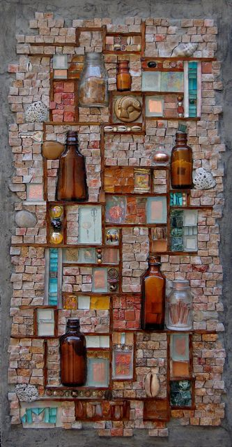 """Octaglyph 27"""" x 14"""" Hand cut salvaged stone tile, plate glass, bottle slices…"""