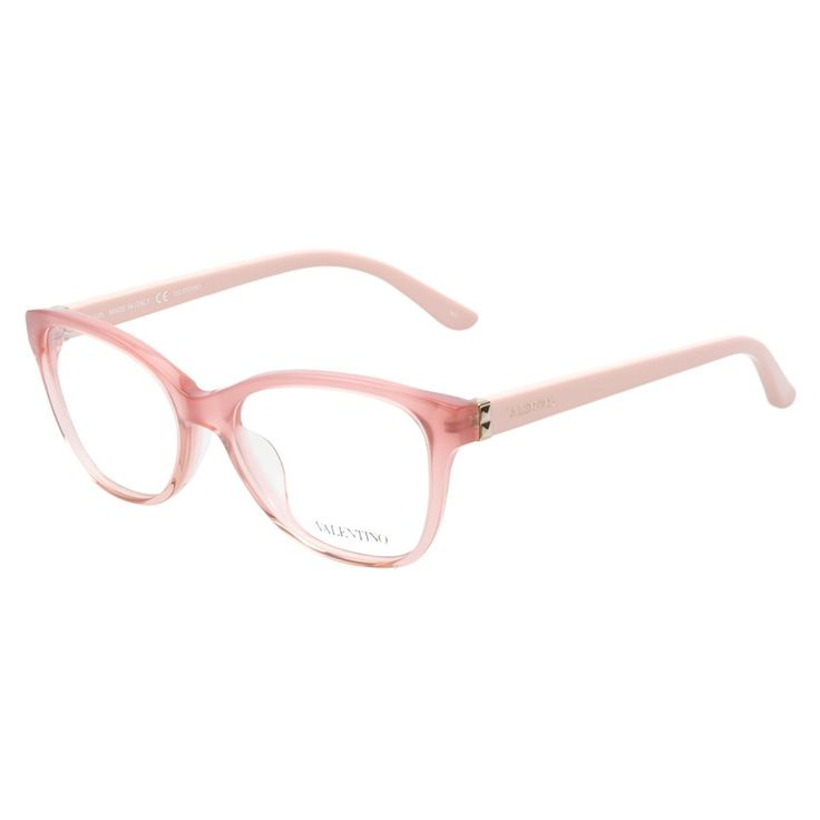 Valentino V2642 601 Rose eyeglasses are delicately enchanting. This poised cateye style comes in a pretty rose hue with a semi-transparent acetate frame front, perfectly paired with creamy pale pink temples decorated with golden studs and Valentino