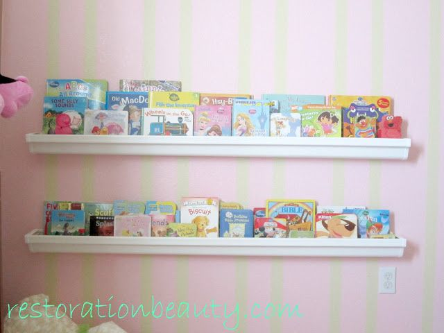 Restoration Beauty: Rain Gutter Bookshelves - not sure where I would put them yet, but LOVE this idea! Someone even mentioned in the comments that you could use them to display art or photos. Lovely!