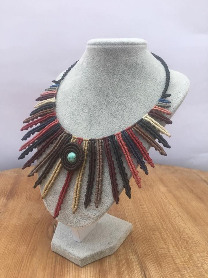 Excited to share the latest addition to my #etsy shop: Navaho Native Indian Ethno Turquoise Macrame Jewelry Set http://etsy.me/2Bgw7CY #jewelry #beige #birthday #brown #stone #girls #turquoise #earrings #boho