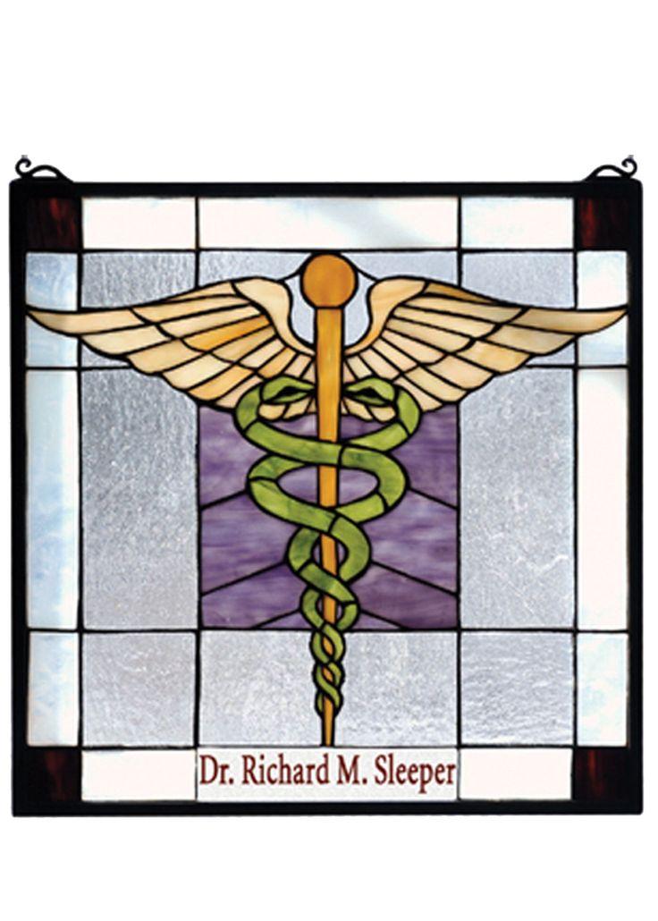 """Meyda 18""""W X 18""""H Personalized Medical Stained Glass Window"""