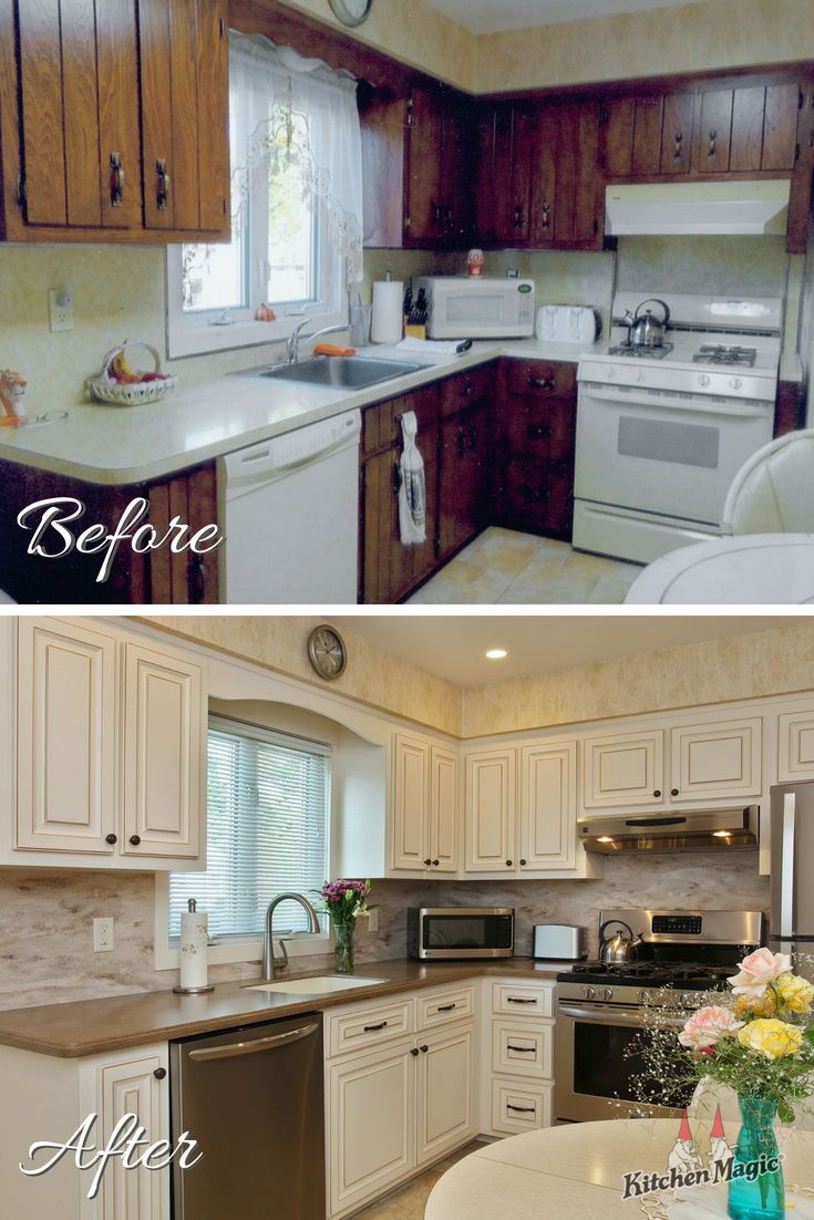 This Week S Before After Features Our Breckenridge Style Cabinet Door In Antique White Wi Custom Kitchen Cabinets Refacing Kitchen Cabinets Kitchen Cabinets