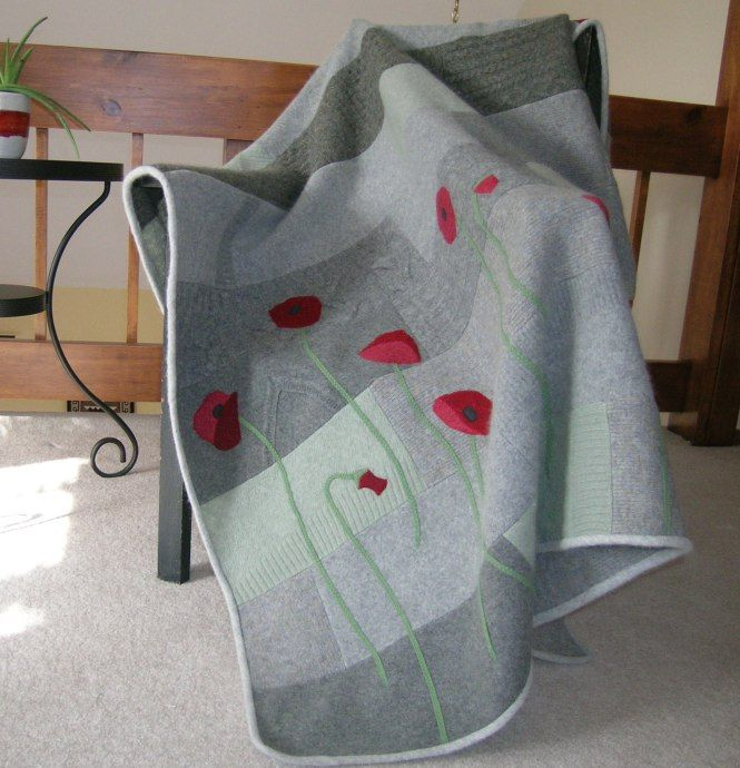 Felted Wool Sweater Blanket with Applique Poppies