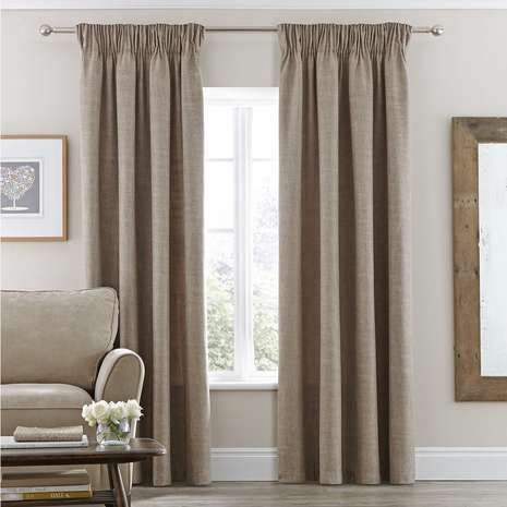 Vermont Natural Lined Pencil Pleat Curtains