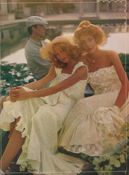 Heavenly white vintage dresses from the 1970s. Absolutely gorgeous!
