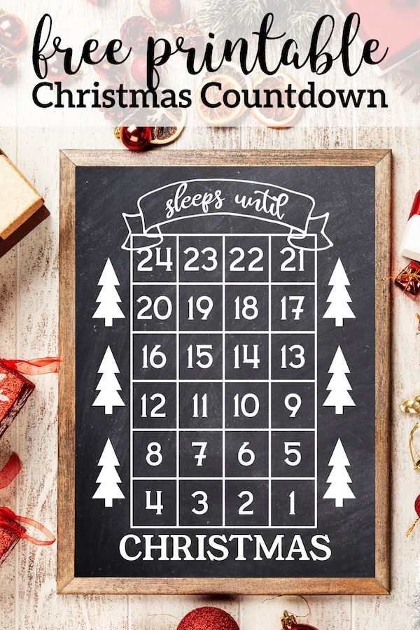 How Many Days Until Christmas Free Printable Free