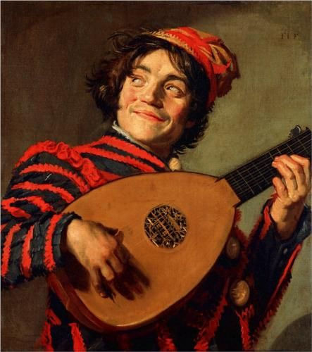 #Portrait of a Jester with a Lute - Frans Hals c. 1623 c.1624 #paintingstogo.com