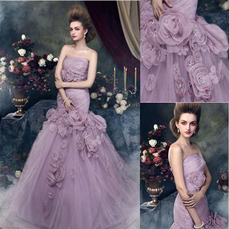 Gorgeous Strapless Mermaid Light Purple Tulle Appliques Wedding Dresse – SposaDesses