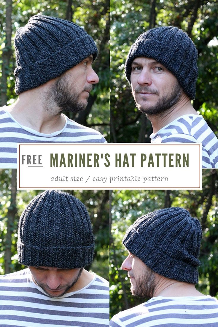 73b4d09e559 Mariners Hat Knitting Pattern free - Make a ribbed Mariner s hat with this  free and easy to print out pattern.  knit  hat  knitting  freehatpatterns    ...
