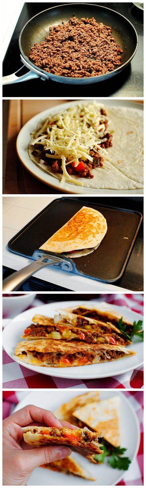 Cheeseburger Quesadillas ~ yummykey
