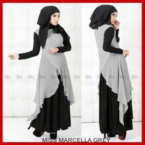 Busana Muslim Gamis Syari Terbaru Miss Marcella Grey P160