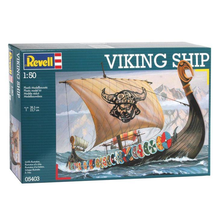 Maak een Viking Schip op schaal na met deze Revell Model Set. De modelbouwset bestaat uit 131 onderdelen op schaal 1:50. Moeilijkheidsgraad 3 sterren. Exclusief lijm en verf. Afmeting: verpakking 38 x 25 x 7 cm - Revell Viking Ship