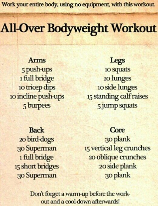 All over body weight workout.