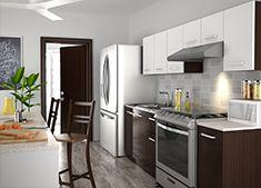 Disfruta deliciosos momentos cocinando con inspiración para tu familia, combina esta innovadora cocina de gabinetes en blanco y chocolate con electrodomésticos de acero inoxidable que facilitarán tu día.