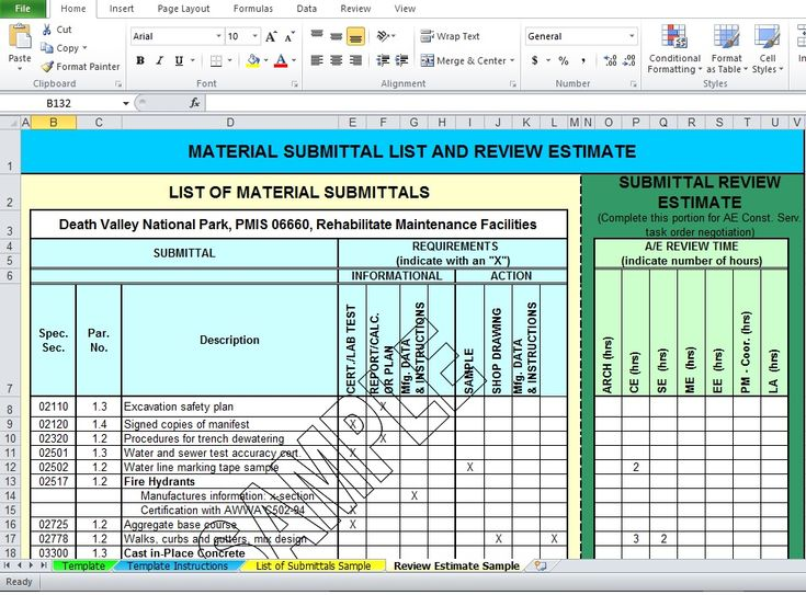 Professional Material List Excel Template Free Download